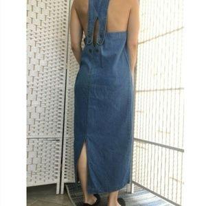 Vintage Denim Jumper Overall Dress Cut Out Back M